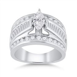 2 CTW Marquise Diamond Solitaire Bridal Wedding Engagement Ring 14kt White Gold - REF-215Y9X