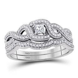 1/3 CTW Princess Diamond Twist Bridal Wedding Engagement Ring 10kt White Gold - REF-39H6W