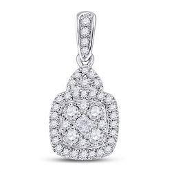 3/8 CTW Princess Diamond Fashion Cluster Pendant 14kt White Gold - REF-39A6N