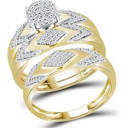 3/8 CTW His & Hers Round Diamond Cluster Matching Bridal Wedding Ring 10kt Yellow Gold - REF-41H9W