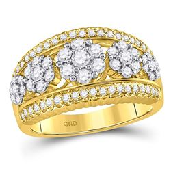 1 CTW Round Diamond Flower Cluster Ring 10kt Yellow Gold - REF-75N5Y