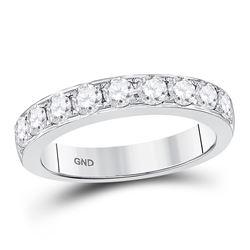 1 CTW Round Diamond Single Row Ring 14kt White Gold - REF-87H5W