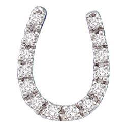 1/10 CTW Round Diamond Horseshoe Pendant 14kt White Gold - REF-9W6F