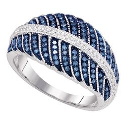 3/8 CTW Round Blue Color Enhanced Diamond Milgrain Cocktail Ring 10kt White Gold - REF-35H9W