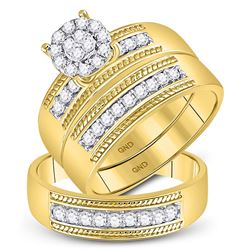 3/4 CTW His & Hers Round Diamond Cluster Matching Bridal Wedding Ring 10kt Yellow Gold - REF-63Y5X