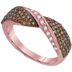 1/2 CTW Round Brown Diamond Crossover Ring 10kt Rose Gold - REF-31M5A