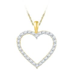 1/4 CTW Round Diamond Heart Outline Pendant 10kt Yellow Gold - REF-16K8R