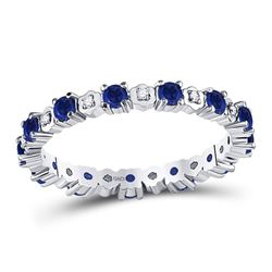 1 CTW Round Blue Sapphire Diamond Eternity Ring 10kt White Gold - REF-27A3N