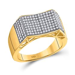 1/2 CTW Mens Round Pave-set Diamond Concave Rectangle Cluster Ring 10kt Yellow Gold - REF-41Y9X