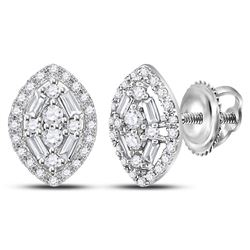 1/3 CTW Round Baguette Diamond Oval Cluster Earrings 14kt White Gold - REF-19X2T