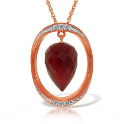 Genuine 13.1 ctw Ruby & Diamond Necklace 14KT Rose Gold - REF-122F8Z