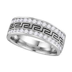 3/4 CTW Mens Round Diamond Grecco Wedding Anniversary Ring 14kt White Gold - REF-83W9F