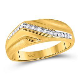1/8 CTW Mens Round Diamond Diagonal Single Row Wedding Ring 10kt Yellow Gold - REF-20K3R
