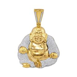 1 & 3/4 CTW Mens Round Diamond Laughing Buddha Hotei Charm Pendant 10kt Yellow Gold - REF-126Y3X