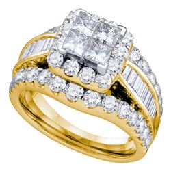 1 CTW Princess Diamond Cluster Bridal Wedding Engagement Ring 14kt Yellow Gold - REF-90T3K