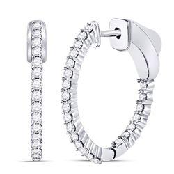 1/2 CTW Round Diamond Single Row Hoop Earrings 10kt White Gold - REF-35K9R