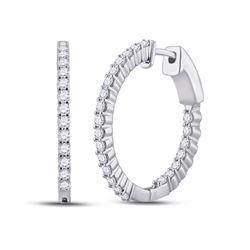 1 CTW Round Diamond Inside Outside Hoop Earrings 14kt White Gold - REF-71W9F