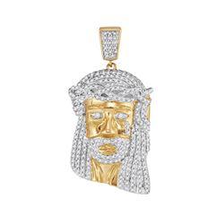 7/8 CTW Mens Round Diamond Jesus Face Charm Pendant 10kt Yellow Gold - REF-45H6W