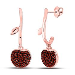1/4 CTW Round Red Color Enhanced Diamond Dangle Cluster Earrings 10kt Rose Gold - REF-24Y3X