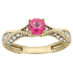 0.81 CTW Pink Topaz & Diamond Ring 14K Yellow Gold - REF-67H8M