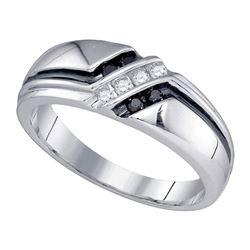 1/5 CTW Mens Round Black Color Enhanced Diamond Ring 14kt White Gold - REF-33H6W