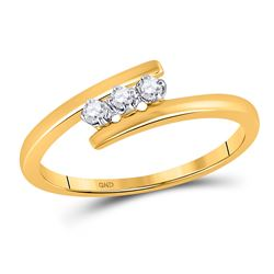 1/10 CTW Round Diamond 3-stone Bridal Wedding Engagement Ring 10kt Yellow Gold - REF-10F8M