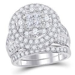 3 CTW Princess Diamond Bridal Wedding Engagement Ring 14kt White Gold - REF-249F3M