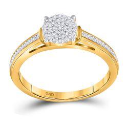 1/5 CTW Round Diamond Cluster Bridal Wedding Engagement Ring 10kt Yellow Gold - REF-15T5K