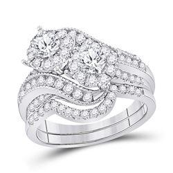 1 & 1/2 CTW Round Diamond Bridal Wedding Engagement Ring 14kt White Gold - REF-149Y9X