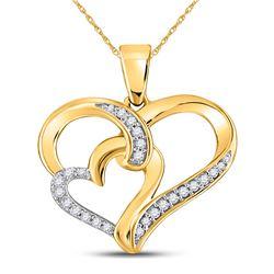 1/10 CTW Round Diamond Double Heart Pendant 10kt Yellow Gold - REF-10N8Y