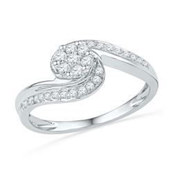 1/3 CTW Round Diamond Flower Cluster Curved Ring 10kt White Gold - REF-20M3A