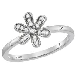 1/8 CTW Round Diamond Flower Floral Stackable Ring 10kt White Gold - REF-16F8M