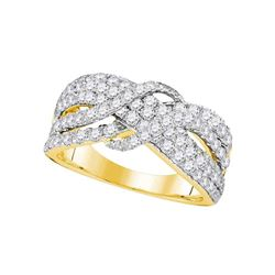 1 & 1/2 CTW Round Pave-set Diamond Crossover Strand Ring 14kt Yellow Gold - REF-111H6W