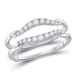 1/3 CTW Round Diamond Wrap Ring 14kt White Gold - REF-35M9A