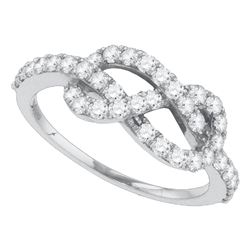 3/4 CTW Round Diamond Infinity Knot Woven Ring 10kt White Gold - REF-41T9K