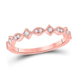 1/10 CTW Round Diamond Geometric Stackable Ring 14kt Rose Gold - REF-18K3R