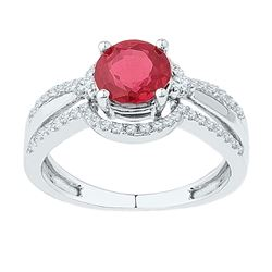 2 CTW Round Lab-Created Ruby Solitaire Ring 10kt White Gold - REF-27X3T