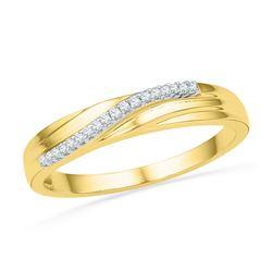 1/20 CTW Round Diamond Ring 10kt Yellow Gold - REF-9H6W