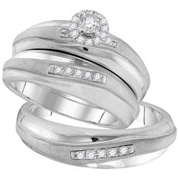 1/5 CTW His & Hers Round Diamond Solitaire Matching Bridal Wedding Ring 10kt White Gold - REF-41R9H