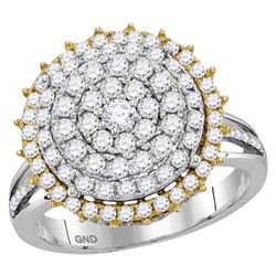 1 & 1/2 CTW Round Diamond Right Hand Cocktail Ring 14kt Two-tone Gold - REF-105A6N