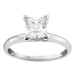 3/4 CTW Princess Diamond Solitaire Bridal Wedding Engagement Ring 14kt White Gold - REF-143H9W
