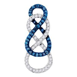1/4 CTW Round Blue Color Enhanced Diamond Linked Infinity Pendant 10kt Yellow Gold - REF-15N5Y