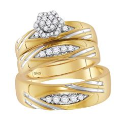1/2 CTW His & Hers Round Diamond Cluster Matching Bridal Wedding Ring 10kt Yellow Gold - REF-60W3F