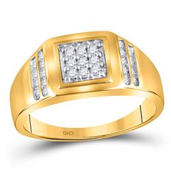 1/4 CTW Mens Round Diamond Square Cluster Ring 14kt Yellow Gold - REF-27W5F