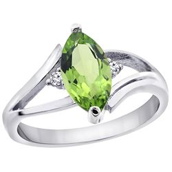 1.14 CTW Peridot & Diamond Ring 14K White Gold - REF-31F3N