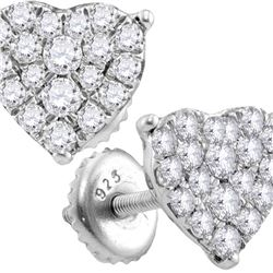 3/4 CTW Round Diamond Heart Cluster Screwback Stud Earrings 10kt White Gold - REF-35Y9X