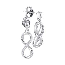 1/10 CTW Round Diamond Infinity Dangle Screwback Earrings 10kt White Gold - REF-14Y4X