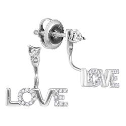 1/10 CTW Round Diamond Love Stud Jacket Earrings 10kt White Gold - REF-9F6M