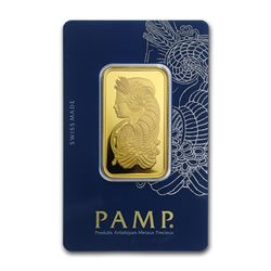 Genuine 1 oz 0.9999 Fine Gold Bar - PAMP Suisse Veriscan