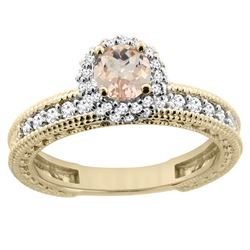 0.79 CTW Morganite & Diamond Ring 14K Yellow Gold - REF-67A3X